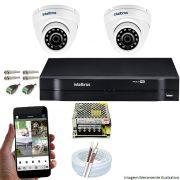 Kit Cftv 2 Câmeras VHD 3120D 720P 2,6mm DVR Intelbras MHDX 1104 + ACESSORIOS