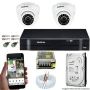 Kit Cftv 2 Câmeras VHD 3120D 720P 2,6mm DVR Intelbras MHDX 1104 + HD 500GB