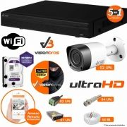 Kit Cftv 2 Câmeras Visionbras 2MP 1080p 3,6MM Dvr 4 Canais Visionbras XVR 1080p + HD PURPLE 2 TB