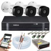 Kit Cftv 3 Câmeras 720p IR BULLET 3130B Dvr 4 Canais Intelbras 5 em 1 + ACESSORIOS