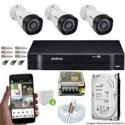 Kit Cftv 3 Câmeras 720p IR BULLET 3130B Dvr 4 Canais Intelbras 5 em 1 + HD 2TB