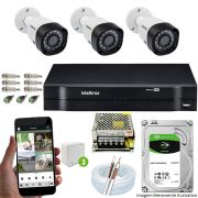 Kit Cftv 3 Câmeras 720p IR BULLET 3130B Dvr 4 Canais Intelbras 5 em 1 + HD 2TB BARRACUDA