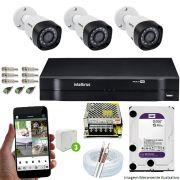 Kit Cftv 3 Câmeras 720p IR BULLET 3130B Dvr 4 Canais Intelbras 5 em 1 + HD 2TB WDP