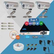 Kit Cftv 3 Câmeras CCD Infravermelho 3,6MM 1200L Dvr 4 Canais Newprotec
