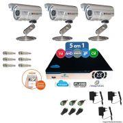Kit Cftv 3 Câmeras CCD Infravermelho 3,6MM 1200L Dvr 4 Canais Newprotec + ACESSORIOS