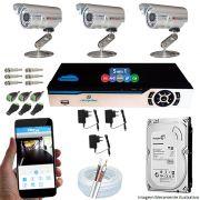 Kit Cftv 3 Câmeras CCD Infravermelho 3,6MM 1200L Dvr 4 Canais Newprotec + HD 1TB