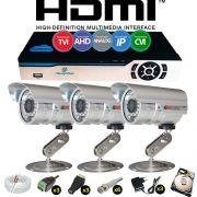 Kit Cftv 3 Câmeras CCD Infravermelho 3,6MM 1200L Dvr 4 Canais Newprotec + HD 250 GB