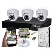 KIT CFTV 3 Câmeras Dome AHD 3,6MM Infravermelho + DVR 4 Canais 5 em 1 1TB