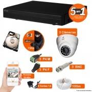 KIT CFTV 3 Câmeras Dome VISIONBRAS + DVR 4 Canais VISIONBRAS 720p com HD 320GB Completo