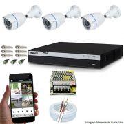 Kit Cftv 3 Câmeras Multhd Bullet 1080P Dvr 4 Canais Intelbras Mhdx 3004 + Acessórios