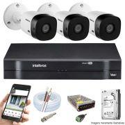 Kit Cftv 3 Câmeras Intelbras VHD 1010B 720P DVR Intelbras 1104 4 Canais + HD 500GB