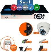 KIT CFTV 3 Câmeras IR Dome Infravermelho 1200 TVL + DVR 4 Canais 5 em 1