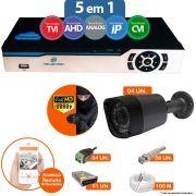 Kit Cftv 4 Câmeras 1080p IR BULLET AHD-H NP 1000 3,6MM 3.0MP Dvr 8 Canais Newprotec 5 em 1 AHD, HDCVI, HDTVI E ANALOGICO E IP + ACESSORIOS