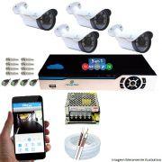 Kit Cftv 4 Câmeras 1080p IR BULLET NP 1004 Dvr 4 Canais Newprotec + ACESSORIOS