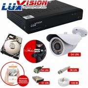 Kit Cftv 4 Câmeras AHD Bullet 720p Dvr 8 Canais Luxvision 5 em 1 + HD 320GB