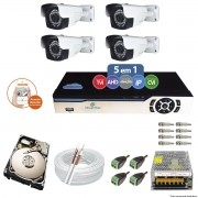 Kit Cftv 4 Câmeras AHD-M 720p 3,6mm DVR 8 Canais Newprotec + HD 500GB