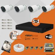 Kit Cftv 4 Câmeras AHD-M 720P 3,6MM Dvr 8 Canais Visionbras XVR 720p + HD 1 TB