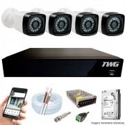 Kit Cftv 4 Câmeras AHD-M 720p Dvr 4 Canais 5 em 1 HD + 1 TB