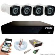 Kit Cftv 4 Câmeras AHD-M 720p Dvr 4 Canais 5 em 1 HD + Acessórios