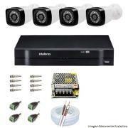 Kit Cftv 4 Câmeras AHD-M 720p Dvr 4 Canais MHDX Intelbras 5 em 1 + Acessórios