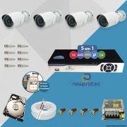 Kit Cftv 4 Câmeras AHD-M 720p Dvr 4 Canais Newprotec 5 em 1 Full HD + 2 TB