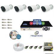 Kit Cftv 4 Câmeras AHD-M 720p Dvr 4 Canais Newprotec 5 em 1 Full HD + Acessórios