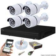 Kit Cftv 4 Câmeras AHD-M 720P Dvr 4 Canais Visionbras XVR 720p + Acessórios