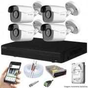 Kit Cftv 4 Câmeras AHD-M 720P Dvr 4 Canais Visionbras XVR 720p + HD 500GB
