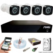 Kit Cftv 4 Câmeras AHD-M 720p Dvr 8 Canais 5 em 1 HD + HD 1 TB