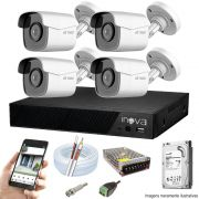 Kit Cftv 4 Câmeras AHD-M 720p Dvr 8 Canais Inova 5 em 1 HD + HD 1 TB