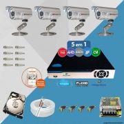 Kit Cftv 4 Câmeras Bullet CCD Infravermelho 3,6MM 1200L Dvr 4 Canais Newprotec + HD 320GB