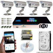 Kit Cftv 4 Câmeras Bullet CCD Infravermelho 3,6MM 1200L Dvr 8 Canais Newprotec + HD 320GB