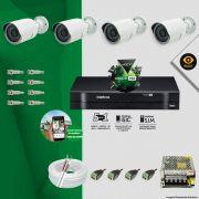 Kit Cftv 4 Câmeras Bullet Ir Cut 1500L Dvr 8 Canais Intelbras MHDX + ACESSÓRIOS