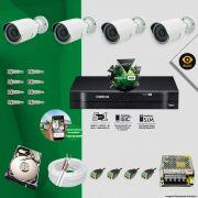 Kit Cftv 4 Câmeras Bullet Ir Cut 1500L Dvr 8 Canais Intelbras MHDX + HD 500 GB