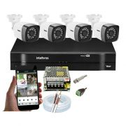 Kit CFTV 4 Câmeras Bullet TWG DVR Intelbras MHDX 1104 + Acessórios