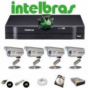 KIT CFTV 4 Câmeras CCD Infravermelho 1200 TVL  DVR 8 Canais Intelbras MultiHD + HD 2 TB