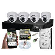 KIT CFTV 4 Câmeras Dome AHD 3,6MM Infravermelho + DVR 4 Canais 5 em 1 1TB