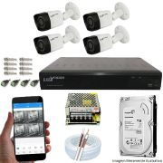 Kit Cftv 4 Câmeras Luxvision 720p Dvr 4 Canais Luxvision ECD 5 em 1 + HD 2TB