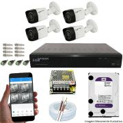Kit Cftv 4 Câmeras Luxvision 720p Dvr 8 Canais Luxvision ECD 5 em 1 + HD WDP 2TB