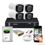 Kit Cftv 4 Câmeras TW-7720 Bullet 1080P Dvr 4 Canais Intelbras 1104 MHDX + HD 500GB