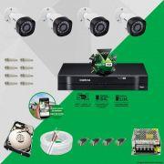 Kit Cftv 4 Câmeras VHD 1010B Bullet 720p Dvr 4 Canais Intelbras MHDX + HD 320GB