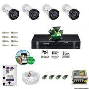 Kit Cftv 4 Câmeras VHD 1010B Bullet 720p Dvr 4 Canais Intelbras MHDX + HD WDP 1TB