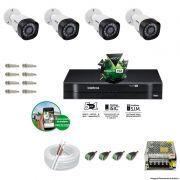 Kit Cftv 4 Câmeras VHD 1010B Bullet 720p Dvr 8 Canais Intelbras MHDX + CABO