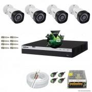 Kit Cftv 4 Câmeras VHD 1220B 1080P 3,6mm DVR Intelbras MHDX 3004 + ACESSORIOS