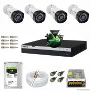 Kit Cftv 4 Câmeras VHD 1220B 1080P 3,6mm DVR Intelbras MHDX 3004 + HD 1TB BARRACUDA