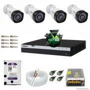 Kit Cftv 4 Câmeras VHD 1220B 1080P 3,6mm DVR Intelbras MHDX 3004 + HD 2TB WDP