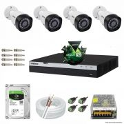 Kit Cftv 4 Câmeras VHD 1220B 1080P 3,6mm DVR Intelbras MHDX 3008 + HD 2TB BARRACUDA
