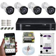 Kit Cftv 4 Câmeras VHD 3120B 720P 2,6mm DVR Intelbras MHDX 1108 + HD 2TB WDP