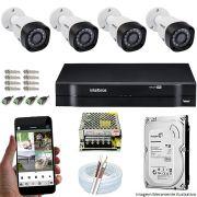 Kit Cftv 4 Câmeras VHD 3120B 720P 2,6mm DVR Intelbras MHDX 1108 + HD 500GB