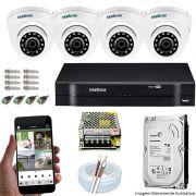 Kit Cftv 4 Câmeras VHD 3120D 720P 2,6mm DVR Intelbras MHDX 1104 + HD 2TB